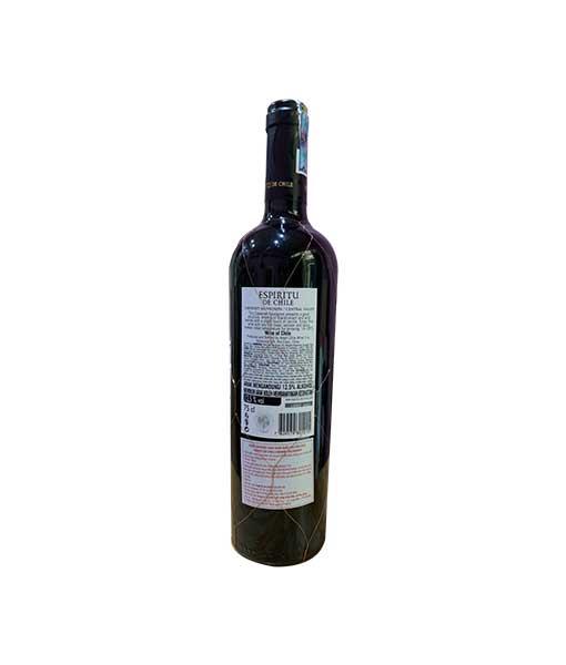 Mặt sau chai rượu Vang Chile Espiritu de Chile Cabernet Sauvignon