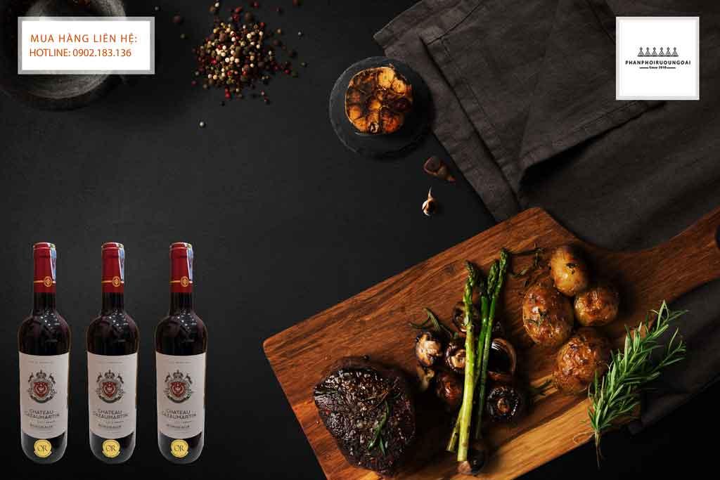 Rượu Vang Pháp Chateau CazauMartin Bordeaux AOC và các món thịt đỏ