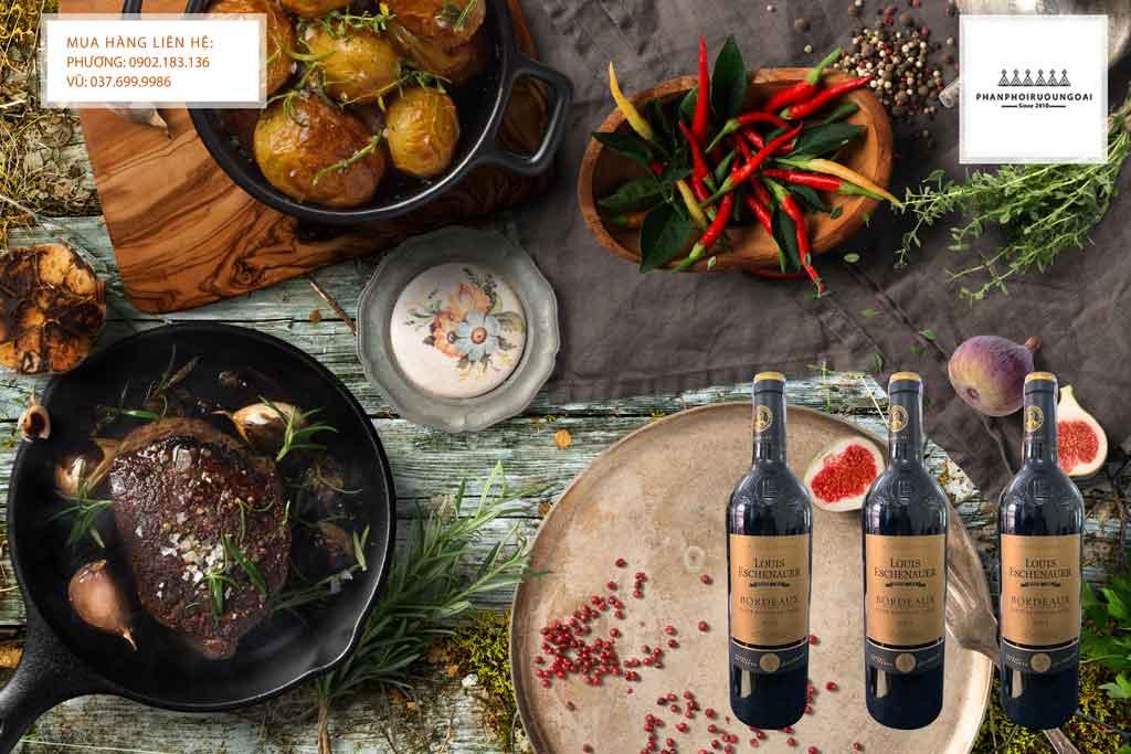 Rượu Vang Pháp Vin de Bordeaux Louis Eschenauer AOC và món ăn