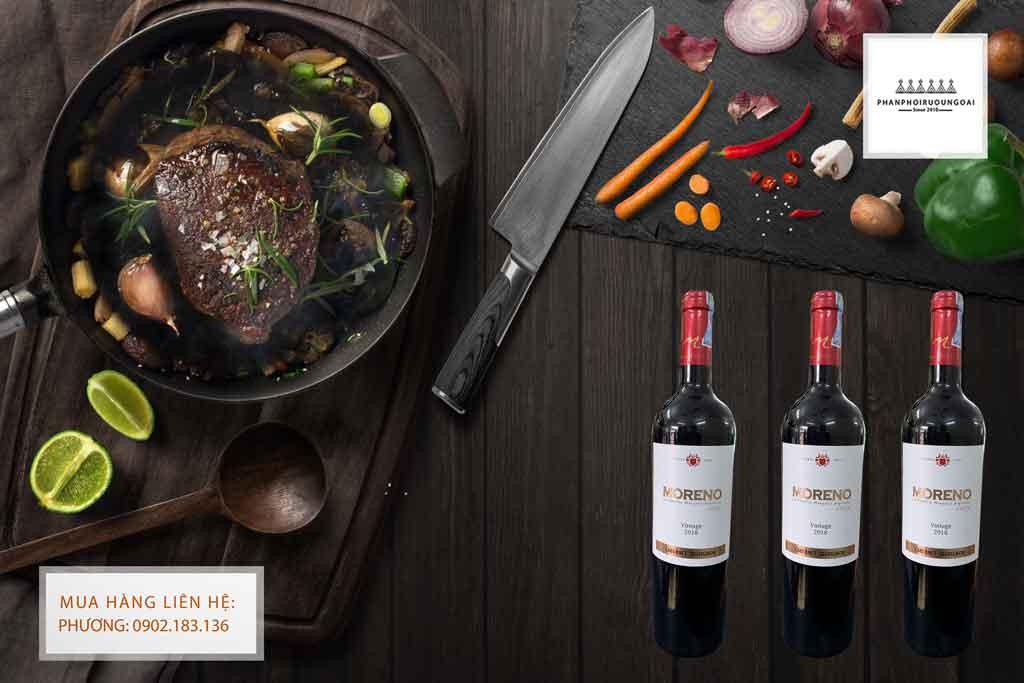 Rượu Vang Chile Moreno Cabernet Sauvignon và các món thịt đỏ