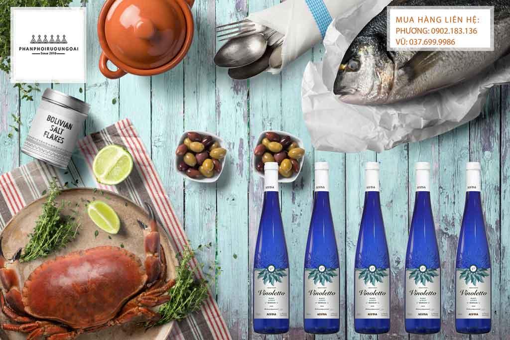 Rượu Vang Tây Ban Nha Vinoletto Airen Semi Sweet và các món hải sản