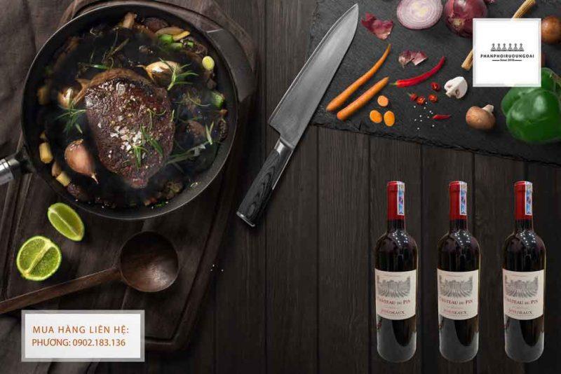 Ảnh Rượu Vang Pháp Chateau du Pin Bordeaux AOC và thịt bò bít tết