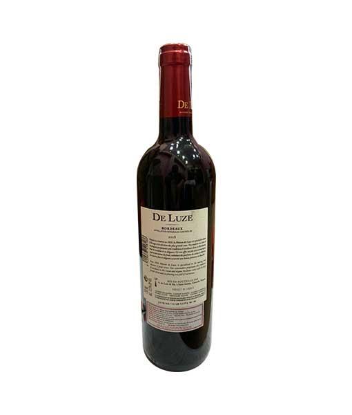 Mặt sau chai rượu vang Pháp De Luze Bordeaux AOC Merlot Cabernet Sauvignon