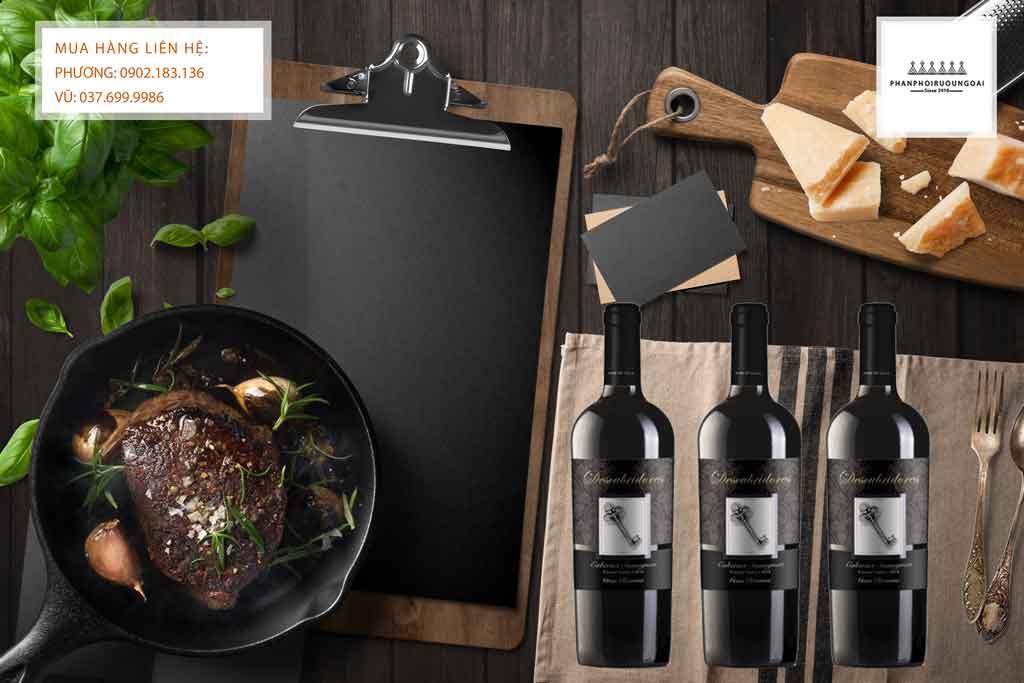 Rượu Vang Chile Descubridores Gran Reserva Cabernet Sauvignon và thịt bò bít tết