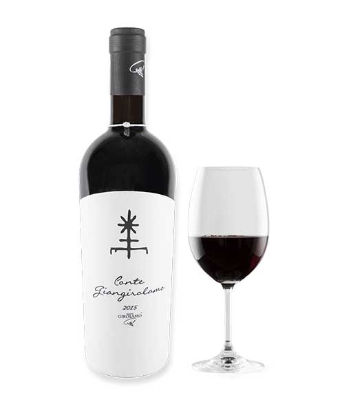 Rượu Vang Ý Conte Giangirolamo Rosso IGT Puglia và ly rượu