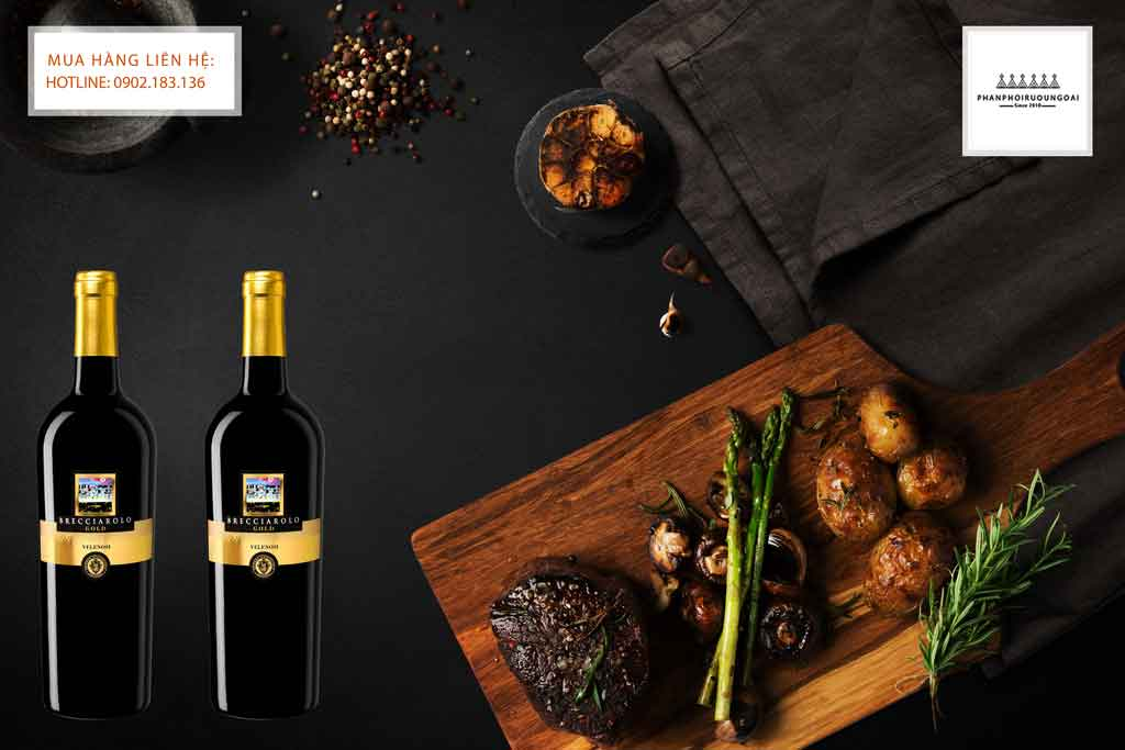 Rượu Vang Ý Brecciarolo Gold và thịt bò bít tết