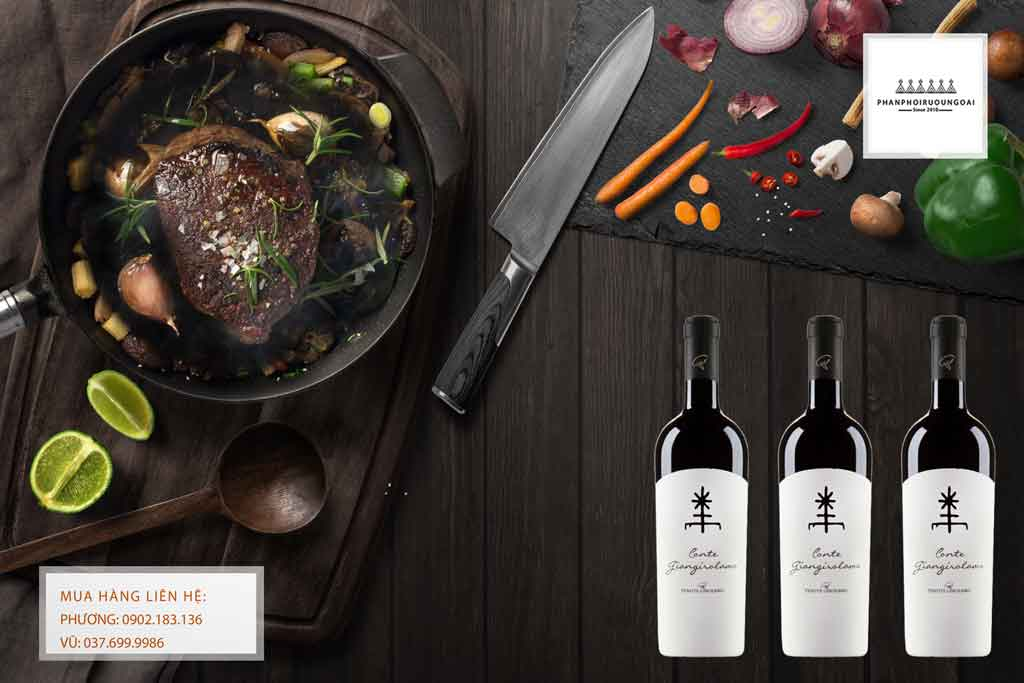 Rượu Vang Ý Conte Giangirolamo và các món thịt đỏ