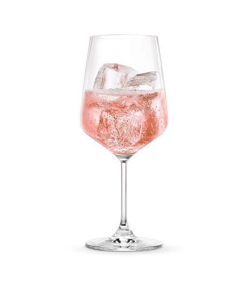Ly rượu vang nổ Ý Martini Rose Demi-Sec thưởng thức với chút đá