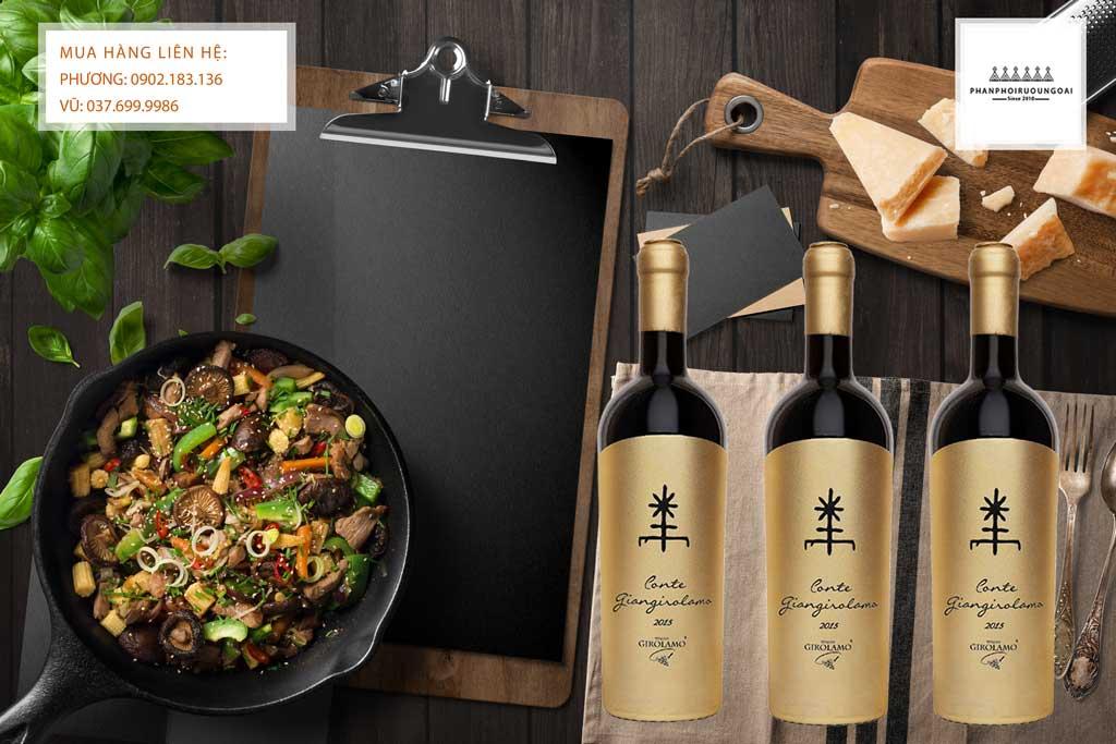 Rượu vang ý Conte Giangirolamo Gold Edition và món ăn