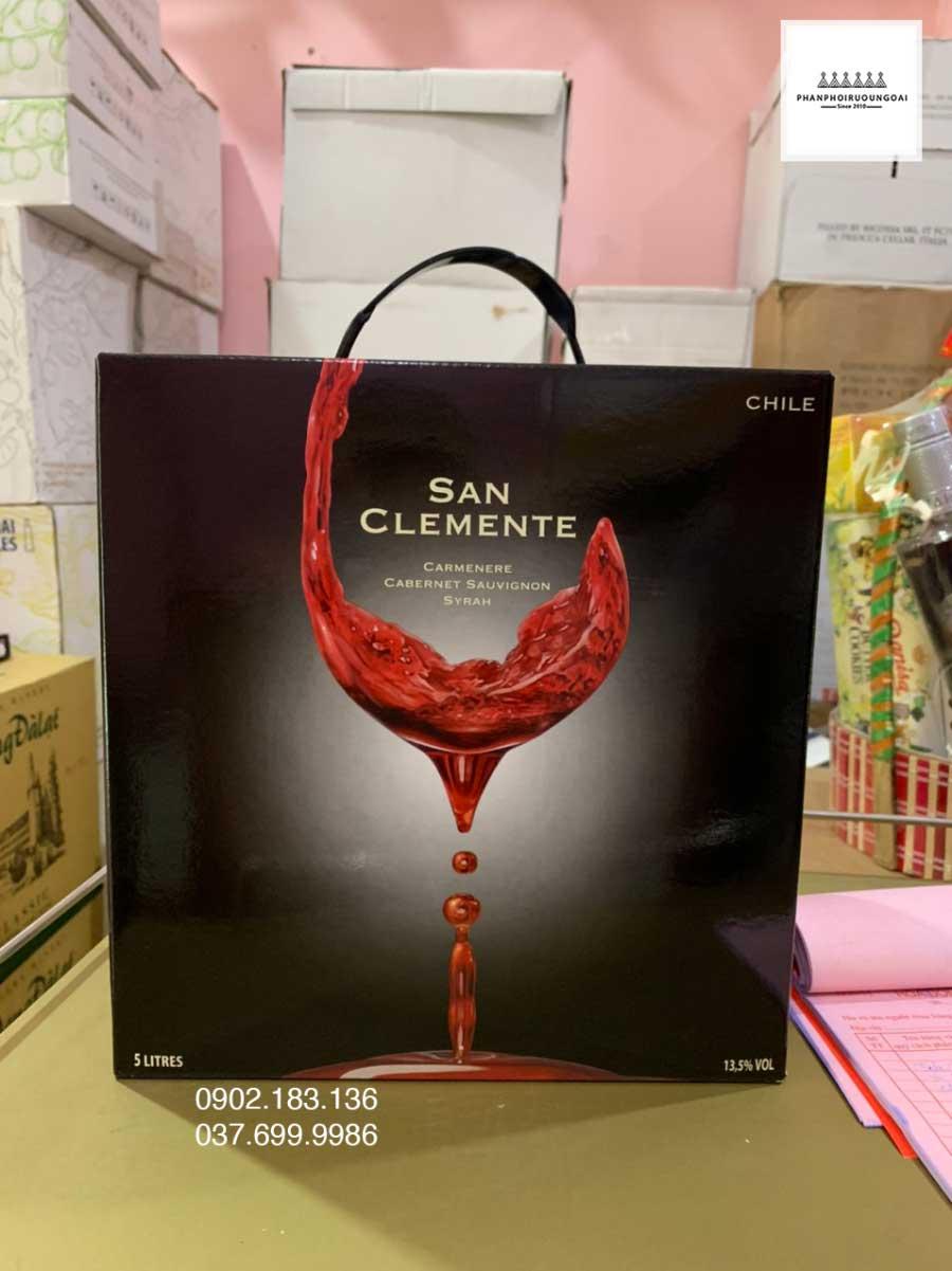 Ảnh thực tế rượu Vang Bịch Chile San Clemente 5L