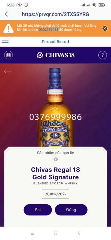 Kết quả của việc quét mã QR Code cho Chivas 18 năm tuổi