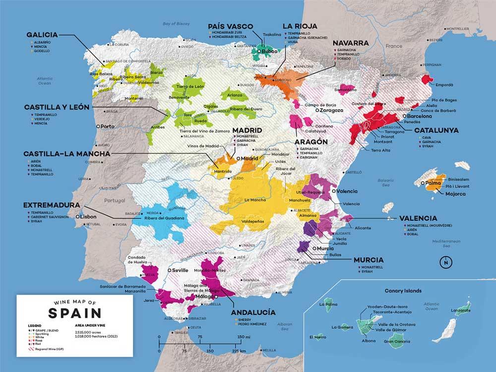 Bản đồ các khu vực trồng nho rượu tại Tây Ban Nha