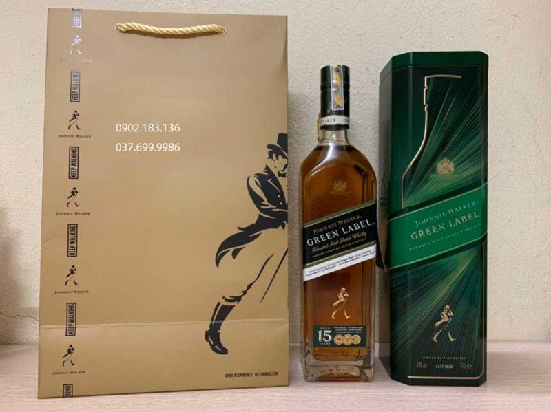 Ảnh thực tế Rượu Johnnie Walker Green Label hộp quà tết 2021