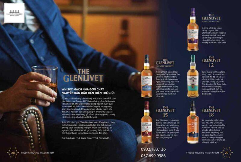 Bộ sưu tập các loại rượu The Glenlivet được cung cấp trên thị trường Việt Nam