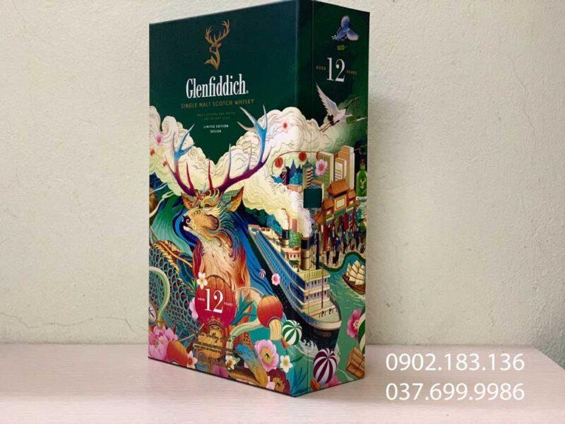 Chụp nghiêng của rượu Glenfiddich 12 năm hộp quà tết 2021