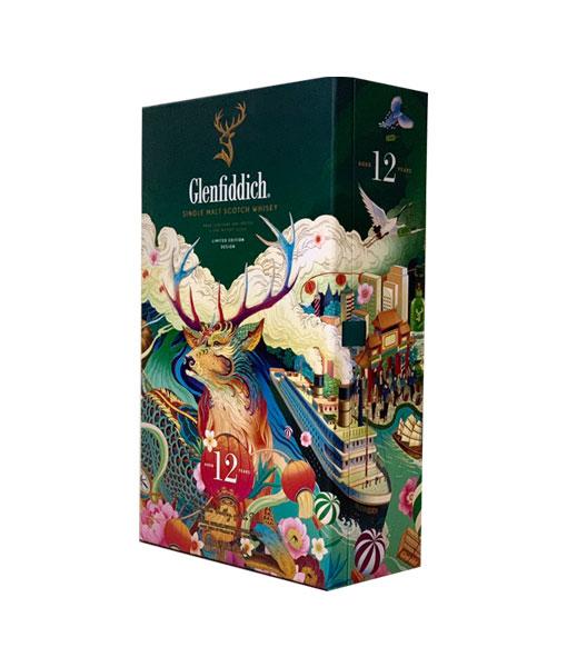 Chụp nghiêng rượu Glenfiddich 12 năm hộp quà tết 2021