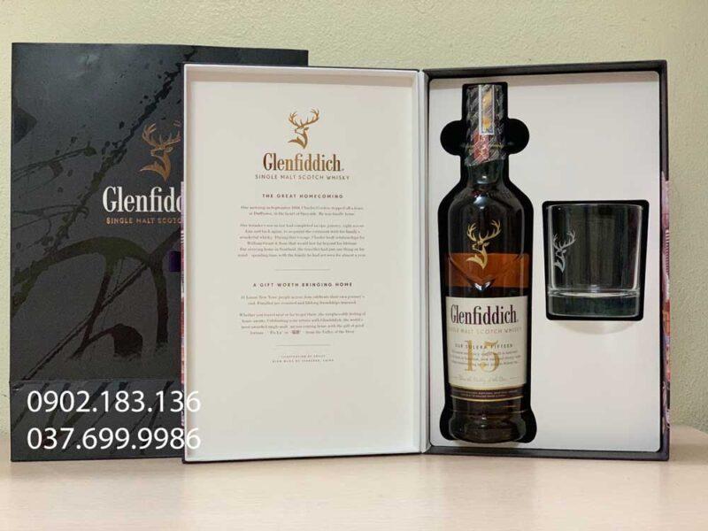 Hình ảnh bên trong hộp quà tết rượu Glenfiddich 15 năm tết 2021