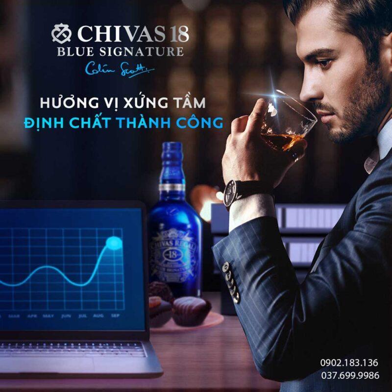 Hương vị xứng tầm định chất thành công với rượu Chivas 18 Blue Signature