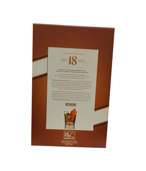 Mặt sau của rượu Johnnie Walker 18 năm hộp quà tết 2021