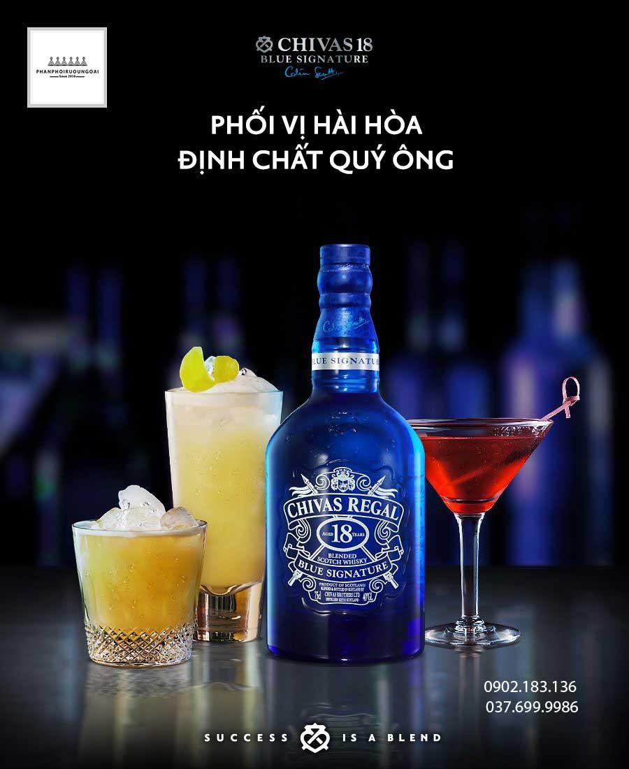 Phối vị hài hoà và định chất quý ông với rượu Chivas 18 Blue Signature