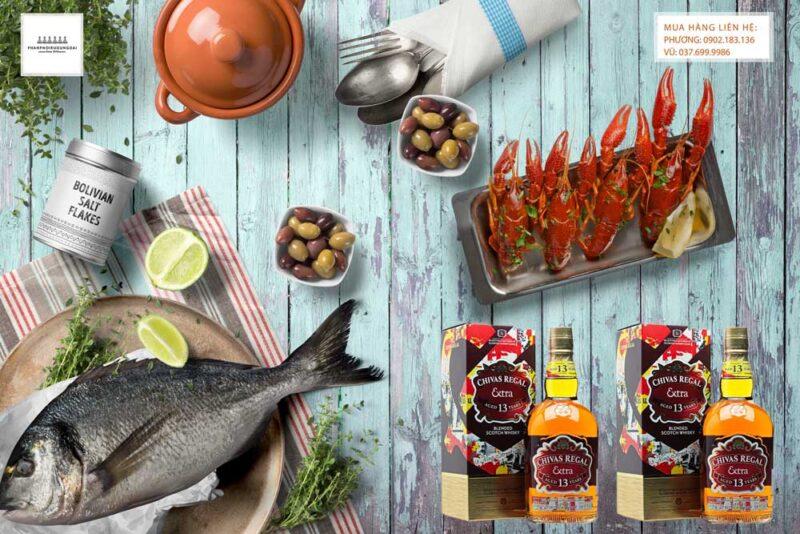 Thưởng thức rượu Chivas Extra 13 năm Sherry Cask và hải sản