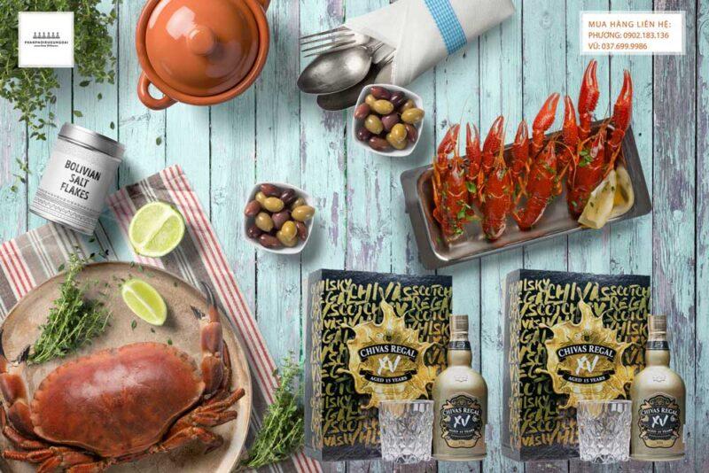 Rượu Chivas XV hộp quà tết 2021 và các món hải sản