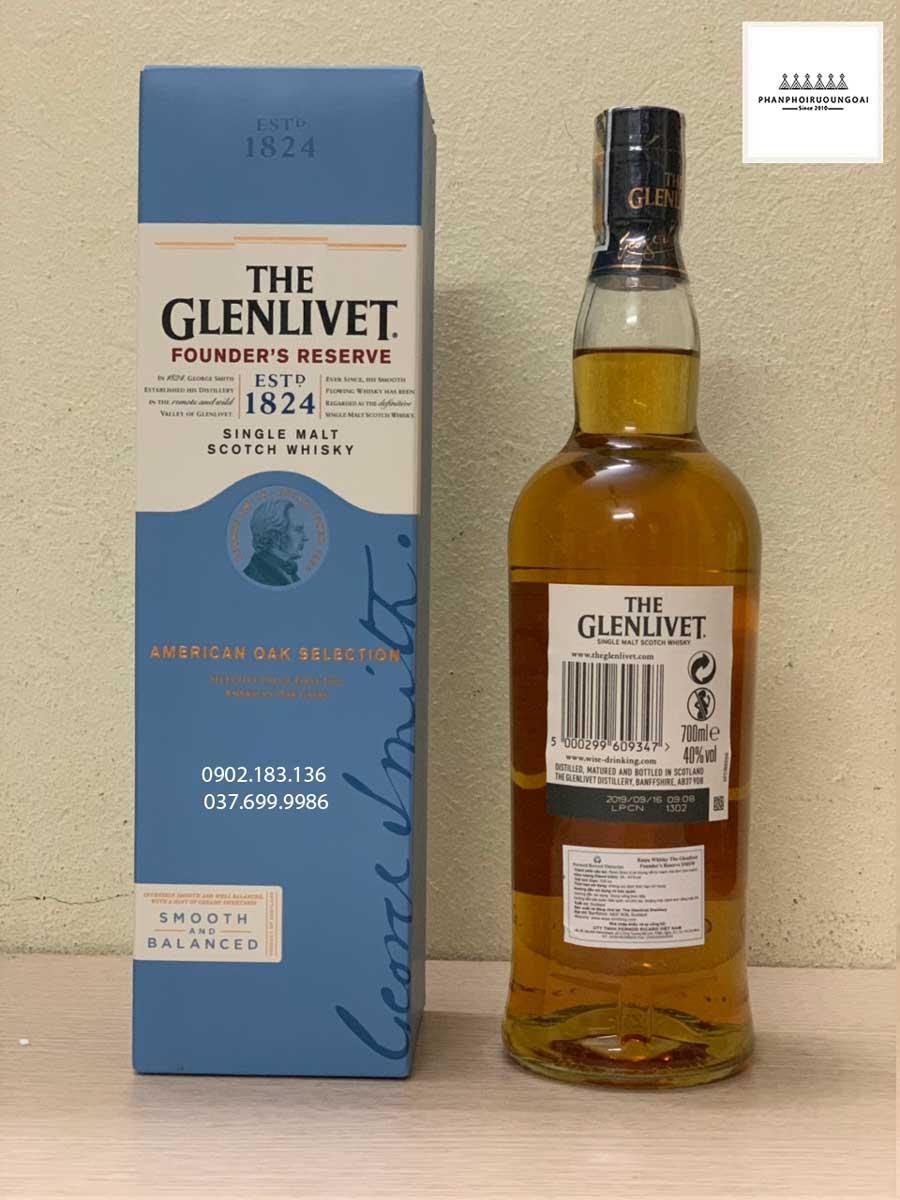 Rượu Glenlivet Founder's Reserve chai thường và tem phụ