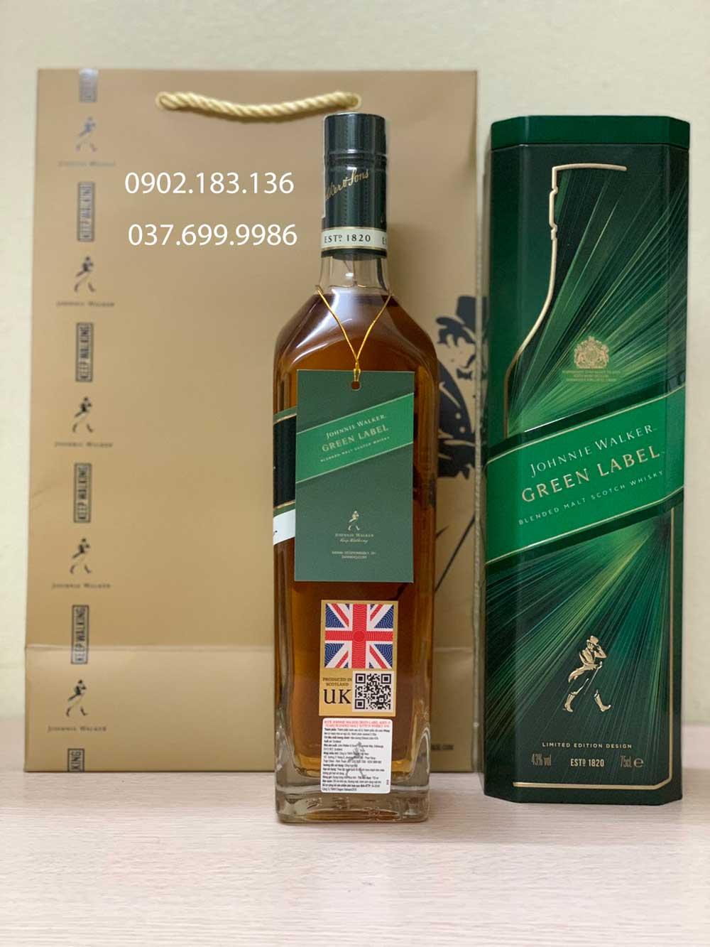 Rượu Johnnie Walker Green Label hộp quà tết chính hãng 2021