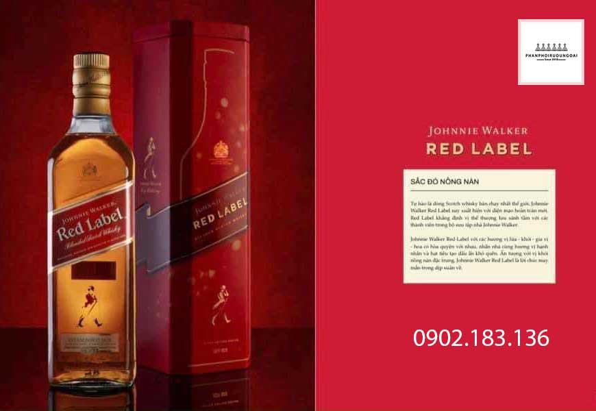 Sắc đỏ nồng nàn của rượu Johnnie Walker Red Label hộp quà tết 2021