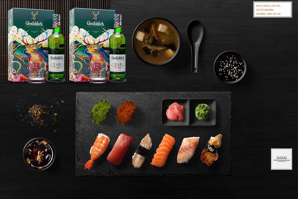 Thưởng thức rượu Glenfiddich 12 năm hộp quà tết 2021 với Sushi