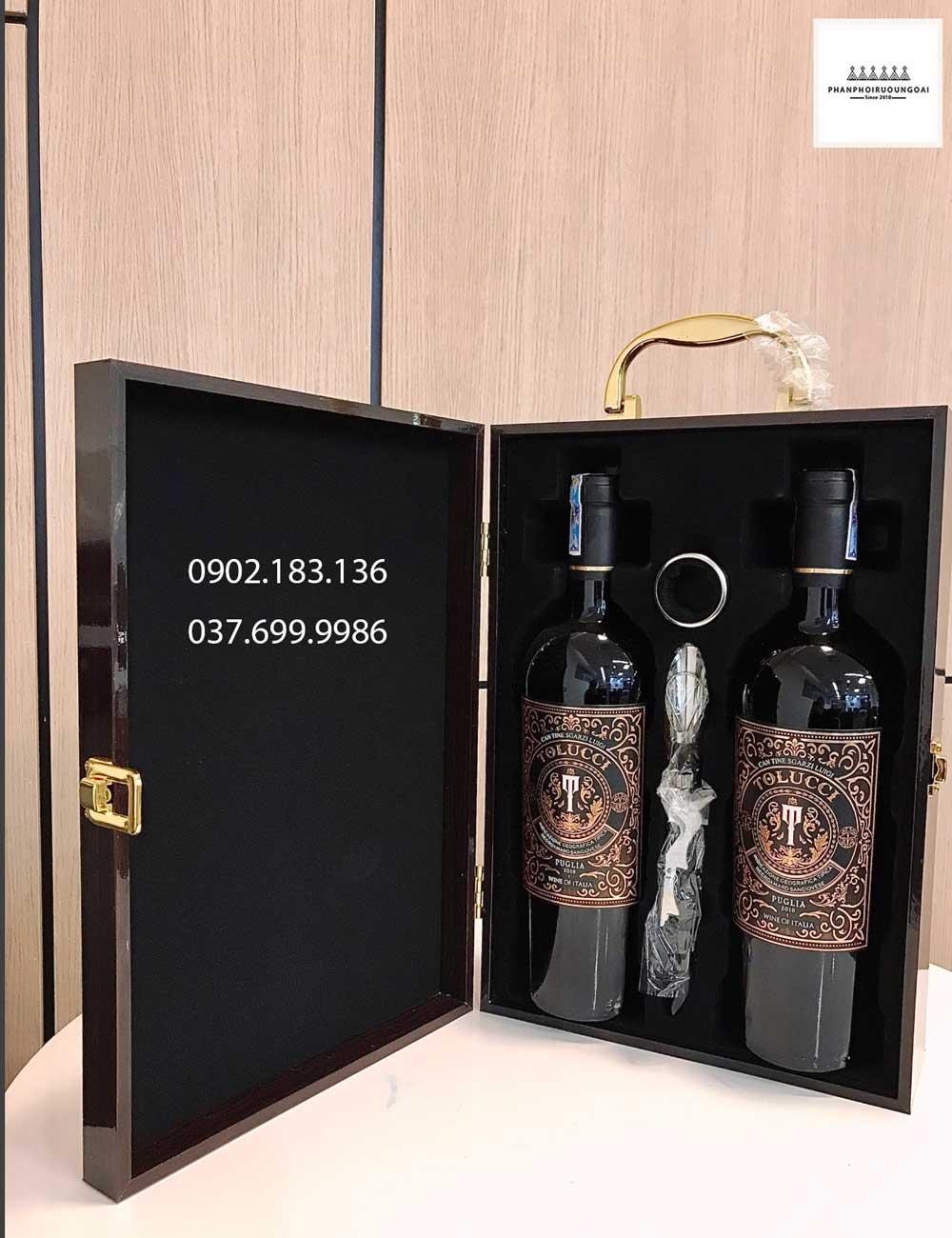 hình ảnh hộp sơn mài và rượu vang Ý Tolucci IGT Puglia