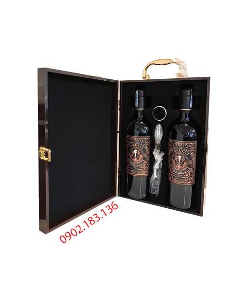 Hôp sơn mài rượu vang Ý Tolucci IGT Puglia cho biếu tặng