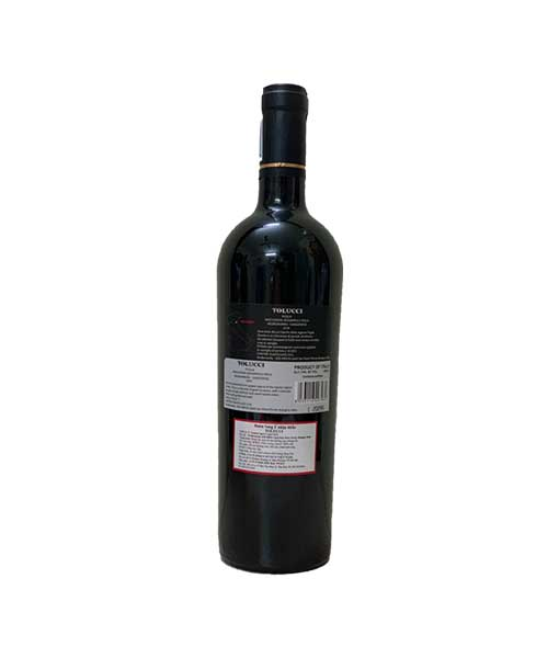 Mặt sau chai rượu vang Ý Tolucci IGT Puglia