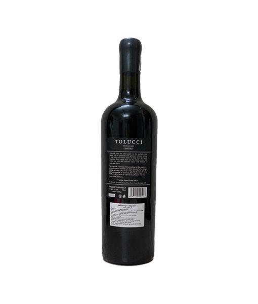 Mặt sau chai rượu vang Ý Tolucci Negroamaro Limited