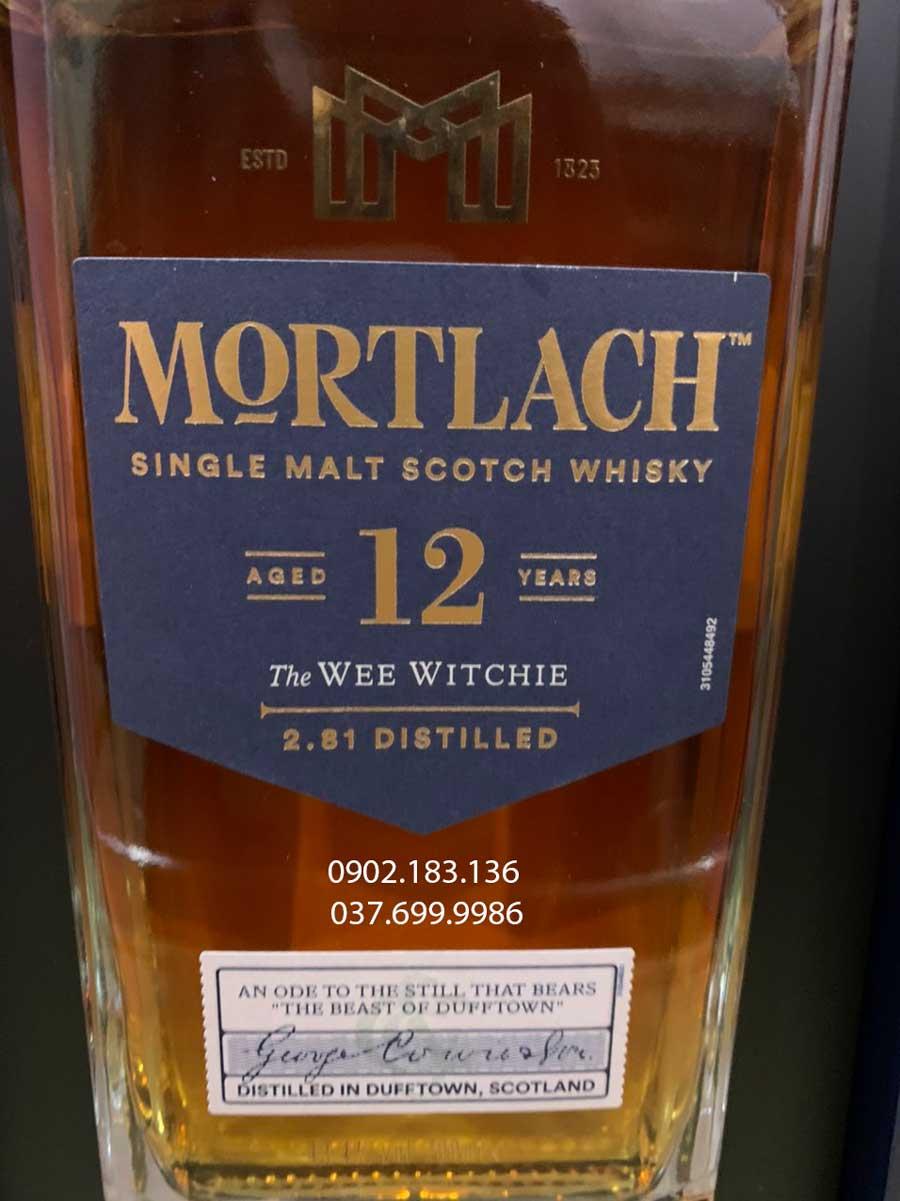 Nhãn trước của rượu Mortlach 12 năm