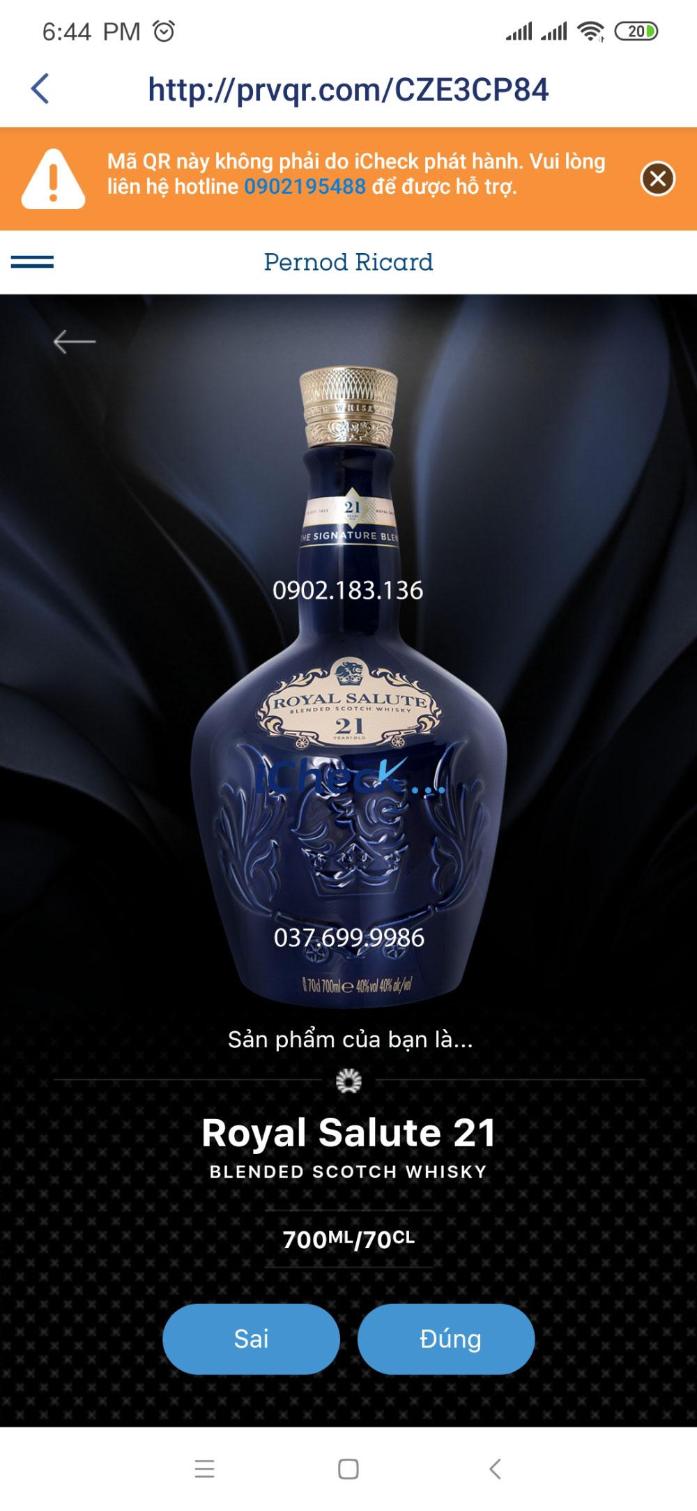 Phần mềm ICheck trả kết quả cho rượu Chivas 21 chính hãng tại Việt Nam