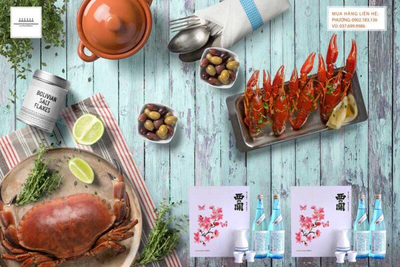 Thưởng thức hộp quà tết Nishino Seki Hiya 720 ml năm 2021 - Set 6 với hải sản