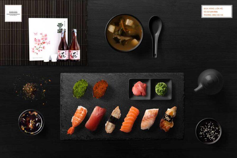 Thưởng thức rượu Sake Nishino seki Hana hộp quà tết 2021 và Sushi