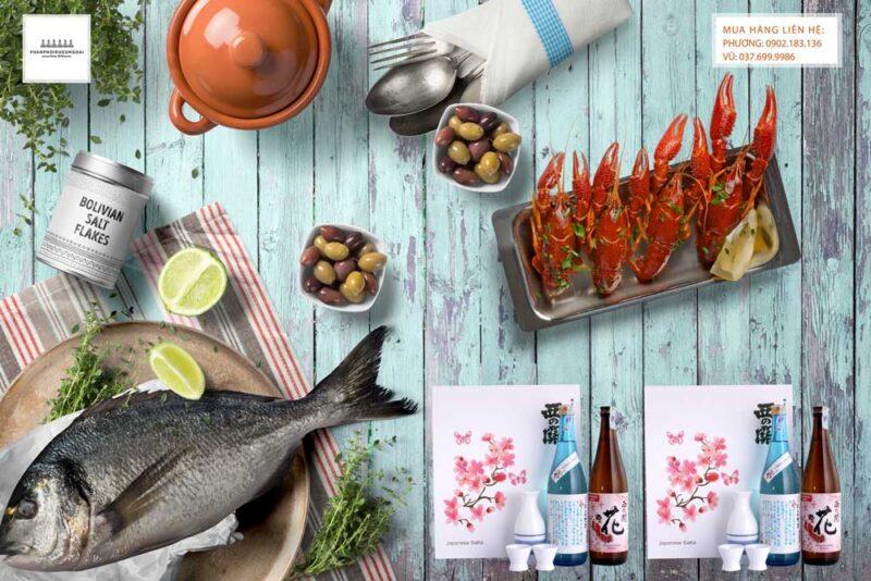 Thưởng thức rượu Sake Nishino Seki hộp quà tết 2021 và hải sản