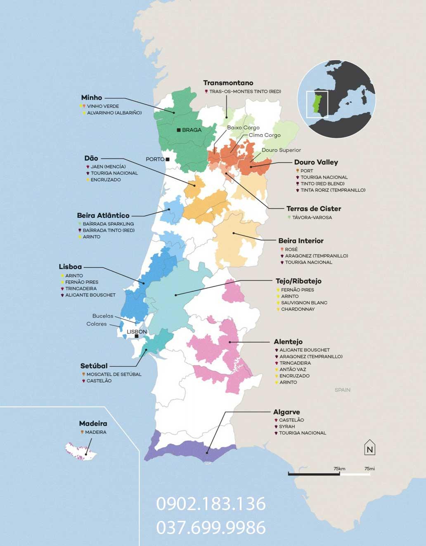 Bản đồ phân bố vùng trồng nho làm rượu vang tại Bồ Đào Nha