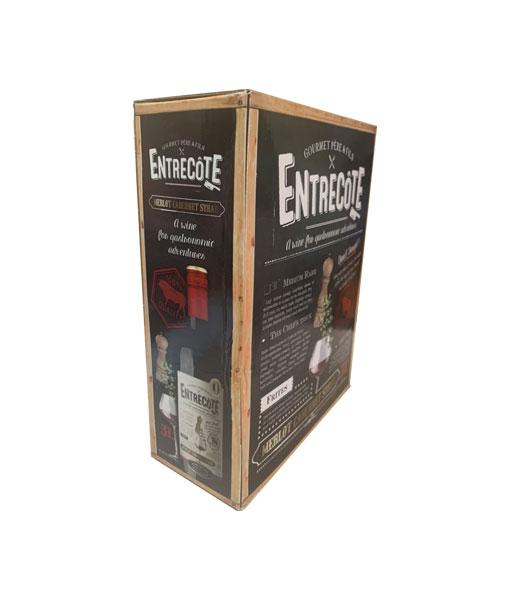 Cạnh bên của rượu vang bịch Pháp Entreconte Merlot Cabernet Syrah 3L