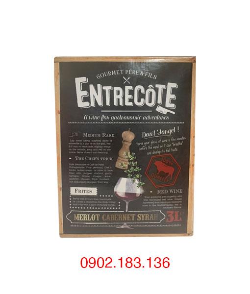 Mặt trước rượu vang bịch Entreconte Merlot Cabernet Syrah 3L