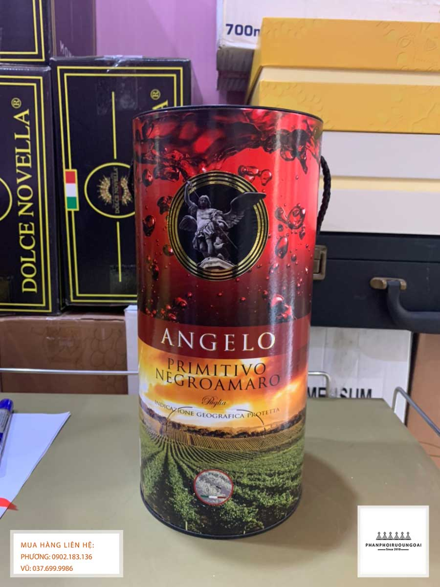 Mặt trước rượu vang bịch Ý Angelo Primitivo Negroamaro 3L