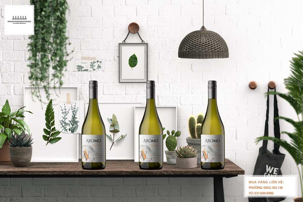 Ảnh rượu vang Chile Vina Aromo Chardonnay cho biếu tặng và thưởng thức