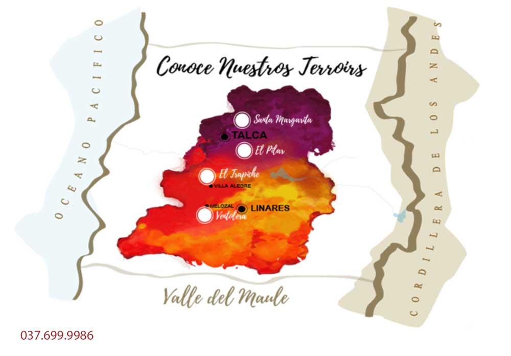 Bản đồ các vườn nho của Vina Aromo
