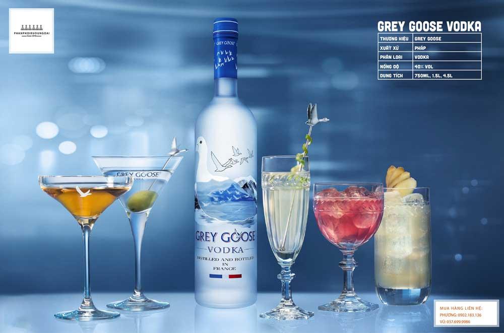 Ly cocktail sang trọng với rượu Vodka Pháp Grey Goose