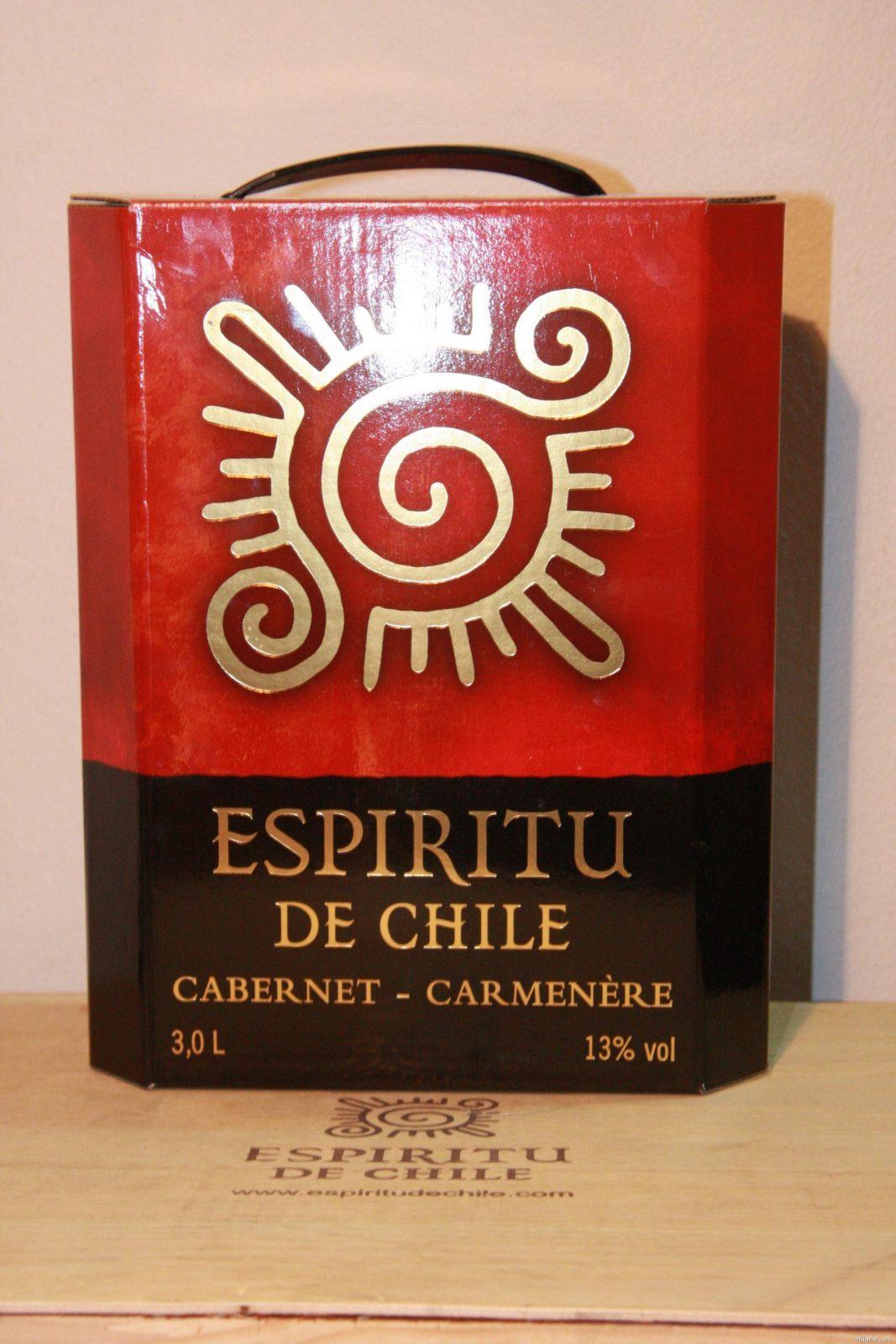 Ảnh chụp thực rượu vang Chile bịch 3 lít mặt trời - Espiritu De Chile