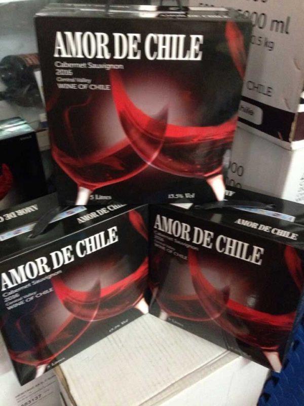 Ảnh thực tế rượu vang bịch Amor de Chile 5 lít