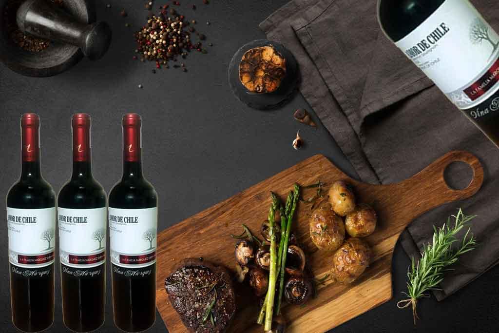 Rượu vang Amor de Chile giá rẻ và món ăn ngon