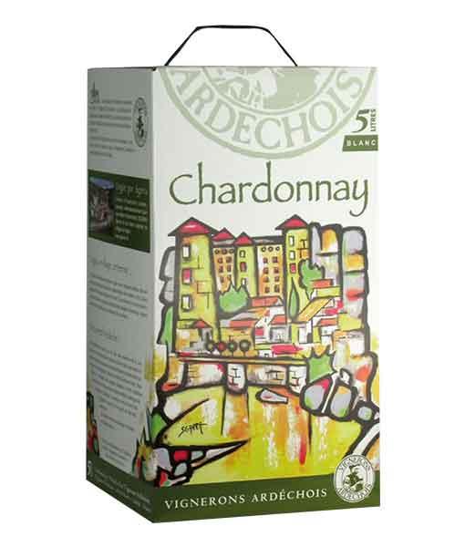 Rượu vang bịch Pháp Ardechois Chardonnay 5 lít